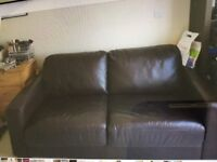 Sofa bed brown leather in good condition
