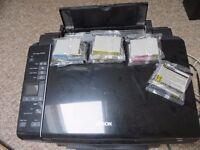 EPSON STYLUS SX215 PRINTER WITH LOTS OF INK CARTRIDGES