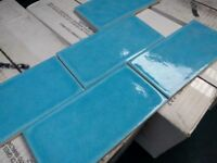 Bright Blue/Turquoise/Aqua Crackle Glaze Tiles 4 sq m