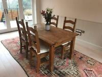 Wooden table and 4 dining chairs