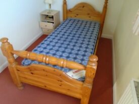 3ft Pine bed and mattress