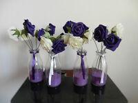 Cadbury purple wedding centrepieces