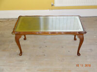Elegant Coffee Table w/ Glass Top and Leather Inlay & Occasional Side/Drinks Table