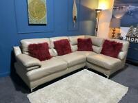 Stunning stone/mink cream leather corner sofa