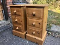 Solid Pine Bedside Drawers 70 x 37 x 37cm