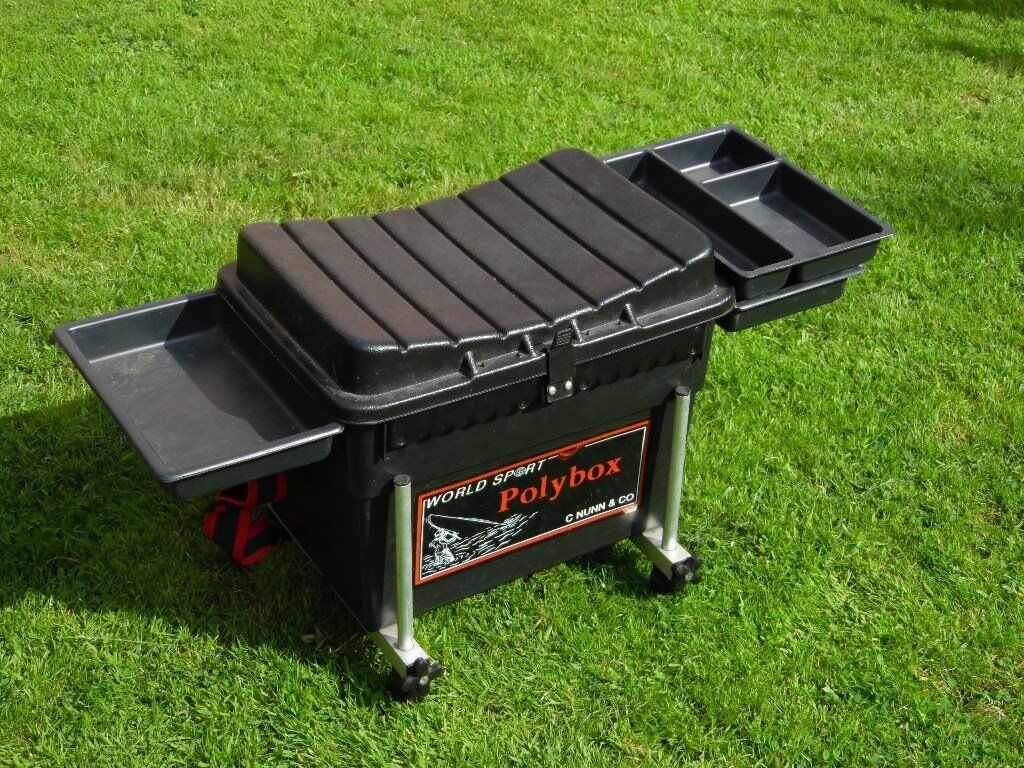 Black fishing seat box with adjustable legs and side trays for Fishing tool box