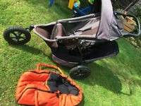Phil & teds sport double pushchair buggy with raincover carrycot spare wheels
