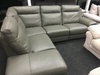 New/Ex Display Leather Grey Serento Recliner Corner Sofa + Storage Chaise (left or right hand)