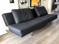 """Sleeper sofabed"" from Viaduct for sale, 204cm long in dark grey fabric, effortlessly folds flat"