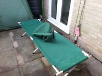 Camping fishing fold away bed with bag