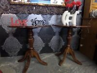 Stunning Pair of Large Round Shaped Inlaid Lamp Tables Delivery