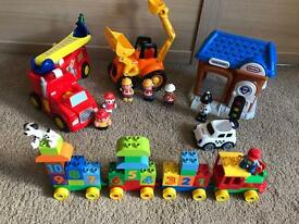 Lego Duplo Number Train, ELC Fire engine and digger with sounds and LT police station