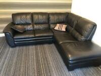 Sold. Black leather corner sofa