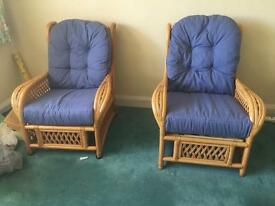 Cane(?) furniture set. Sofa, 2xchairs, 2xbookcases, coffee table & side table.