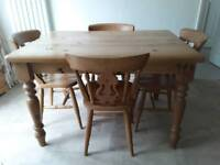 Waxed pine table and 4 chairs