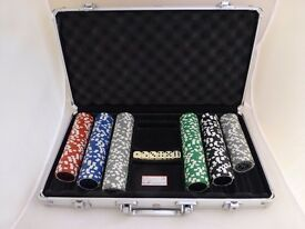 Casino Holographic Clay Poker Chip Set in aluminum case- incomplete