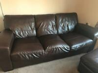 3and 2 Seater Brown leather Sofa and stool