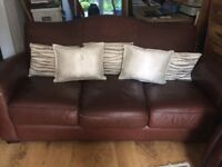 Brown Leather Sofa used 3 seater £50
