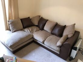 Light and dark brown Courner sofa great condition