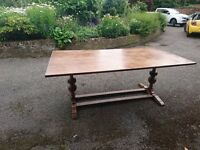 Dining table 8 seater and 6 chairs made by woods old charm ladder back chairs in medium oak