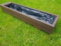 Large Solid Wooden Planter - Restored Vintage Pallet - Lined 130x34cm