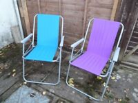 Garden Chairs Folding TWO Blue and Purple