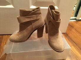 Size 2 Ladies Beige Suede Ankle Boots