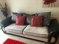 Dfs sofa and chair black and cream
