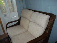 Beautiful Hilton Cane and wicker sofa 2 seater chocolate finish