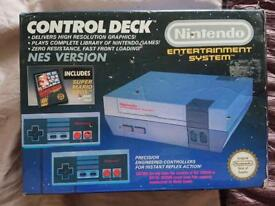 NES Console with box, cables, controllers, 8 games and 2 sleeves BARGAIN