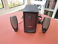 Dell Zylux A425 2.1 Channel Stereo Computer Speakers with Powered Subwoofer in Good Condition