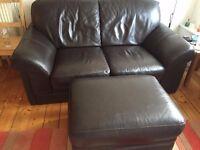 Dark brown high quality leather sofa £80 ono