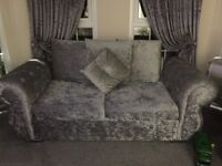Grey crushed velvet 3 seater and 2 seater sofa