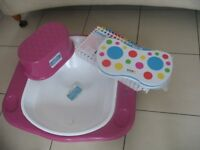 'Supabath' baby bath, long step stool, koo-di kneeling mat UNUSED