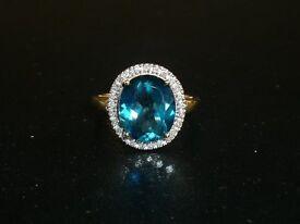 Ladies London Blue Topaz & Diamond ring