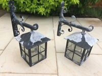 Pair of Coach Lantern Outdoor Wall Lights - Untested