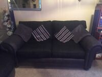 ScS Rome 3 seater sofa with cuddle chair and 2 foot stools.