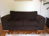 Stylish, comfortable chocolate brown sofa, excellent condition