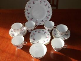 Vintage Royal Osborne China Teaset Pink Roses