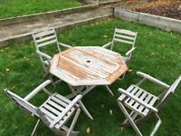 Teak wooden outdoor patio table and 4 chairs