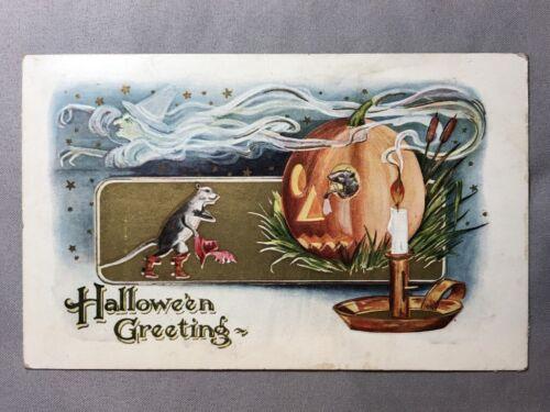 1914 HALLOWEEN Witch RATS Jack O Lantern JOL Embossed Postcard ANTIQUE Original