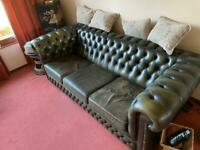 Chesterfield green leather 3 seater sofa