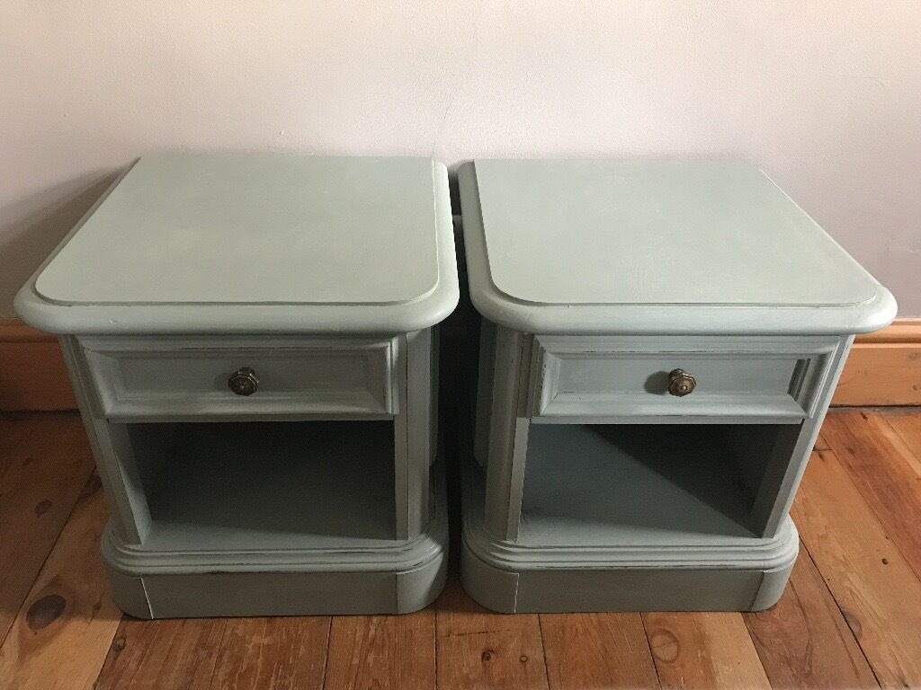 duck egg blue shabby. Shabby Chic Bedside Cabinets Tables Annie Sloan Duck Egg Blue Chalk Paint