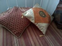 Piped burnt orange red geometric patterned vintage moroccan style(2 available) cushion and inner pad