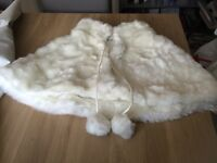 Ivory faux fur cape