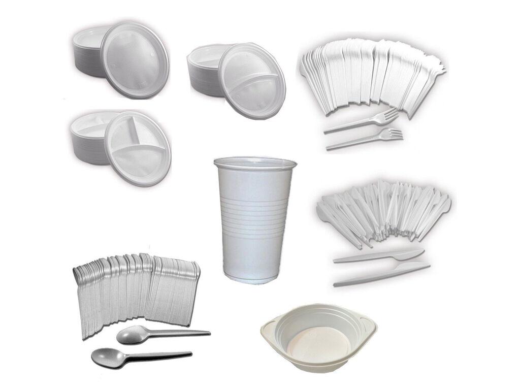 Einweg Plastik Geschirr Besteck / Menüteller / Becher / Gabel / Löffel / Teller