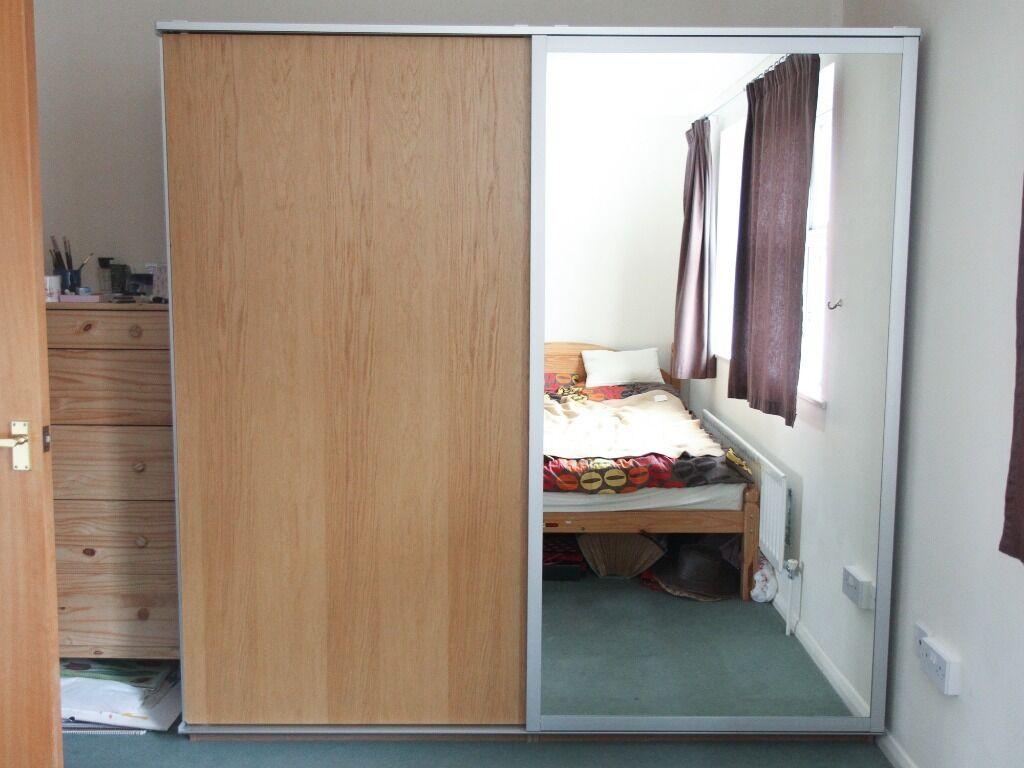 Ikea Pax Malm Double Wardrobe With Sliding Doors 1 Mirrored
