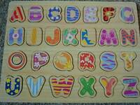 Wooden alphabet for kids