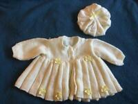Hand knitted baby girls set, 0-3 mths