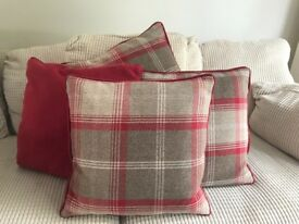Dunelm Red / Brown Highland Check Curtains with Tiebacks and Cushions
